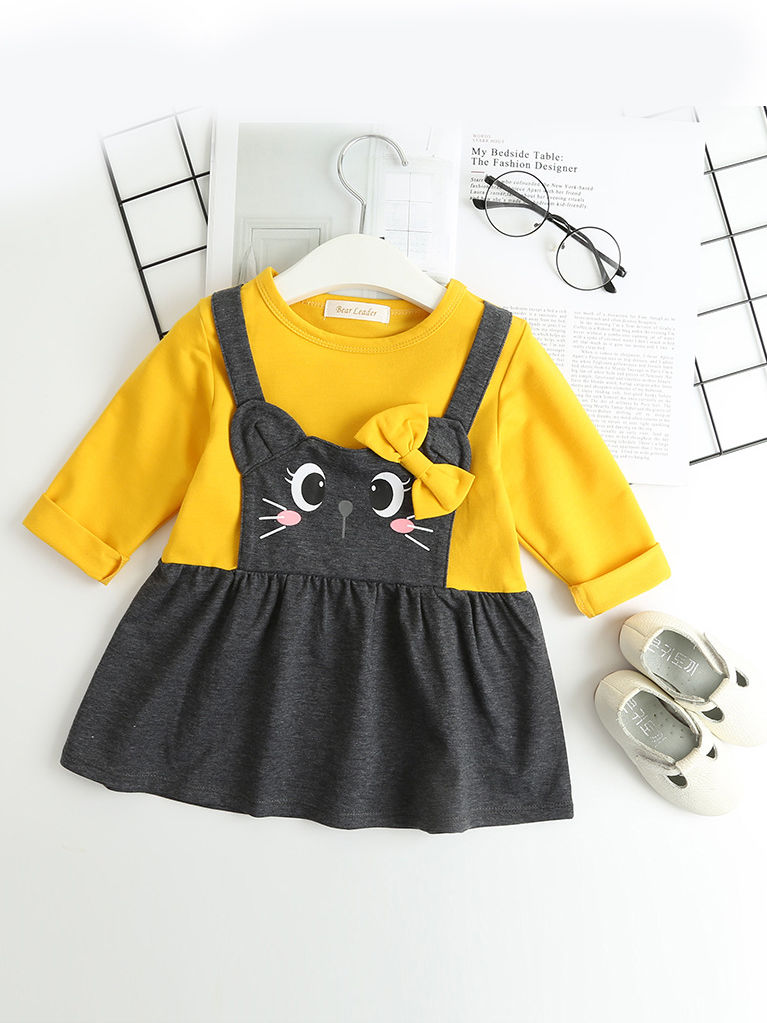 Autumn Elegent Toddler Baby Color-Blocking Bow Cat Dress