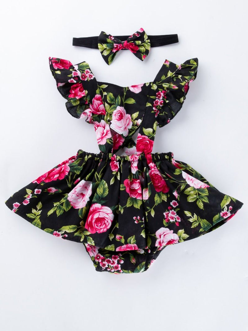Baby Girl Flower Printed Romper Dress Set-Pattern 2