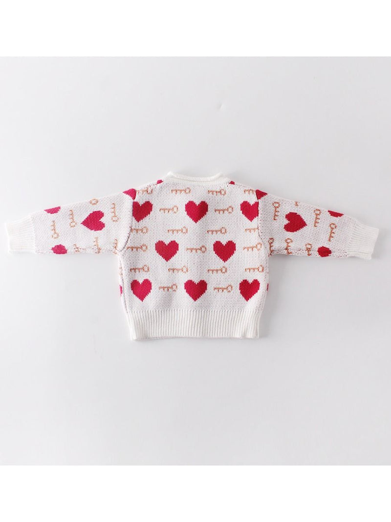 Baby Girl Love Heart Key Knitted Cadigan