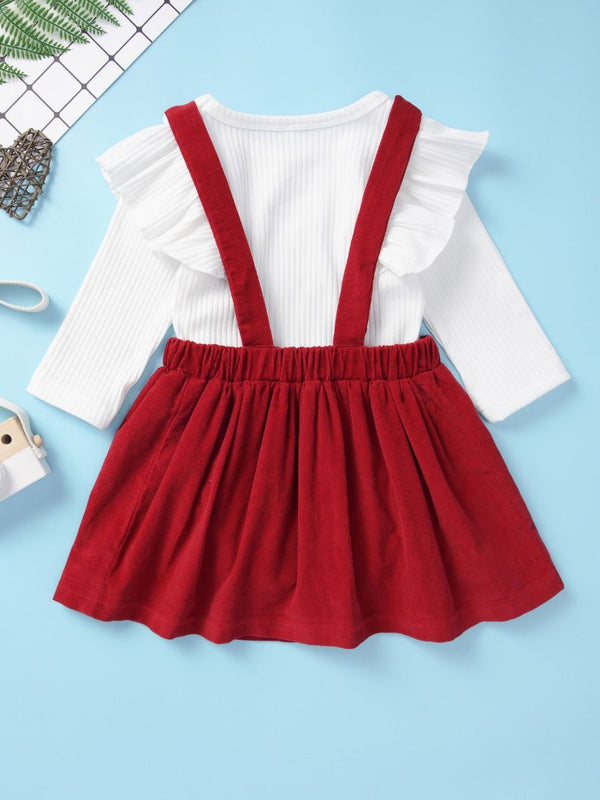 Adorable 2-Piece Baby Girl Solid Color Ruffle Romper Skirt Set