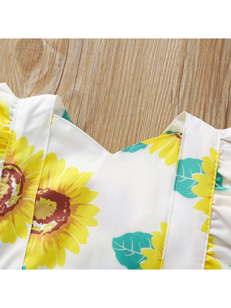 Baby Girl Summer Sunflower Ruffle Suspender Romper