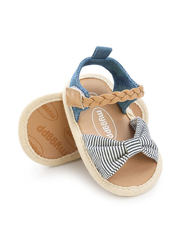 Baby Girls Bow-knot Pattern Cloth Sole Sandals