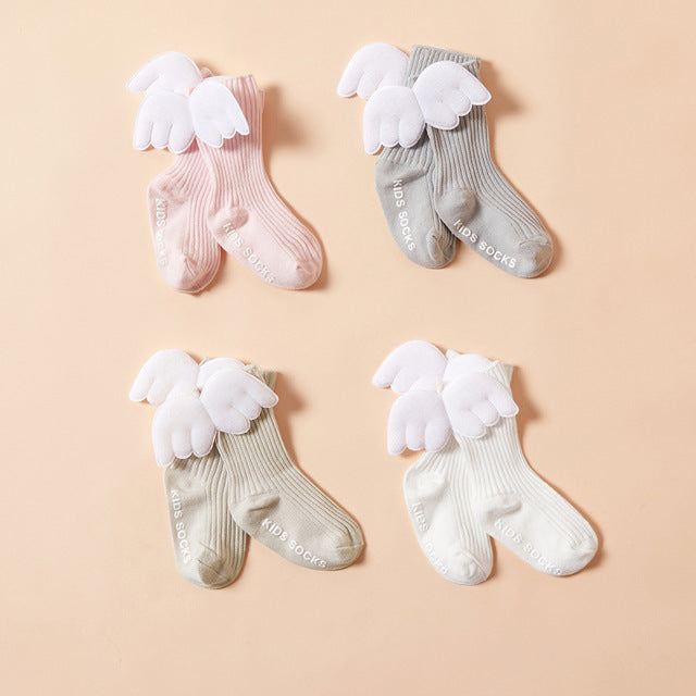 Lovely Baby Little Girl Angel Wing Trim Loose Mouth Socks