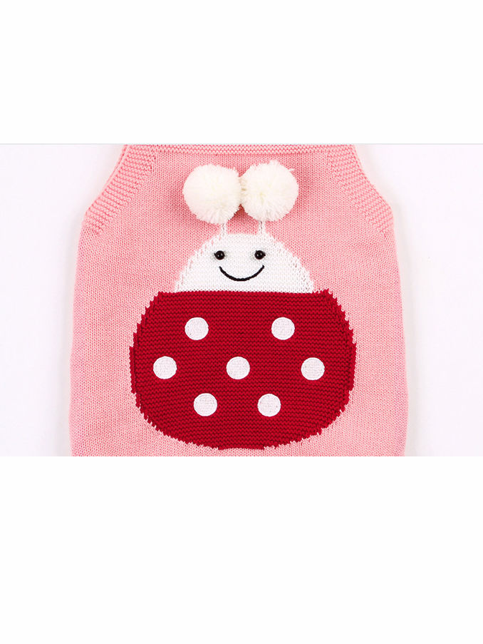 Infant Baby Pom-Pom Ladybug Knitted Onesies Pink and Gray