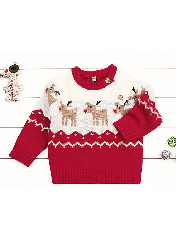 Deer Print Splicing Knitwear