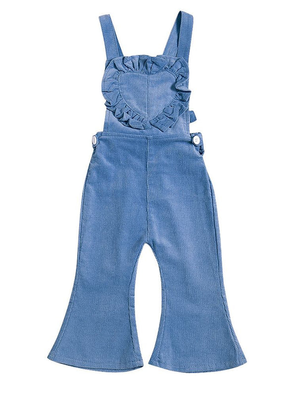 Fashion Ruffled Love Heart Flared Overall Baby Toddler Suspender Trousers