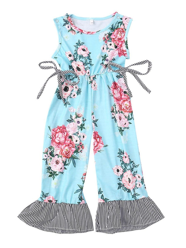 Bell-bottom Clothes Flower Baby Little Girl One-Piece Jumpsuit