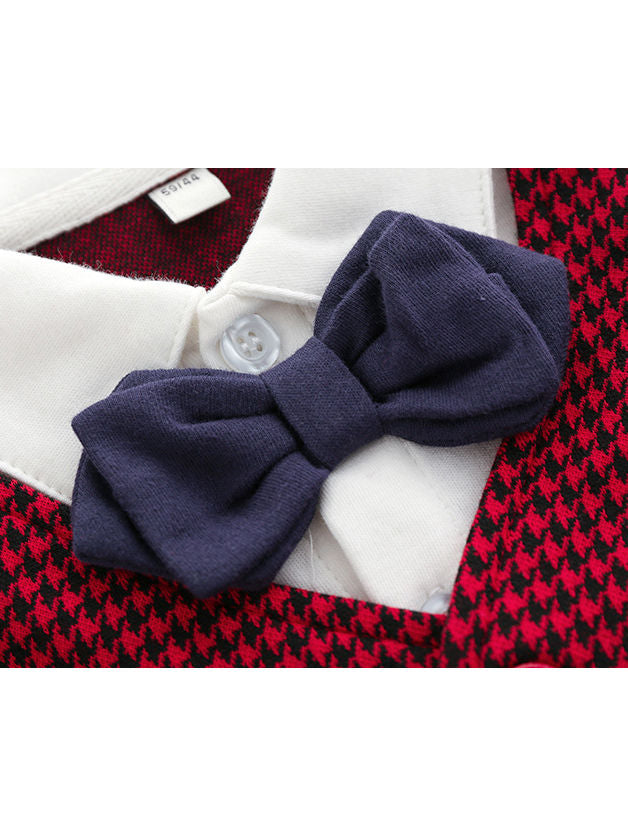 British Style Bow Tie Baby Footed Overall Party Wear