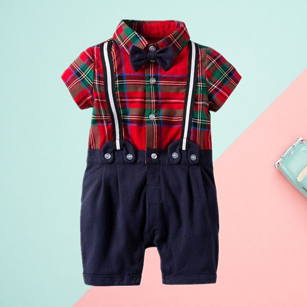 British Style Infant Boy Checked Short-sleeved Jumpsuit with Bowtie Summer