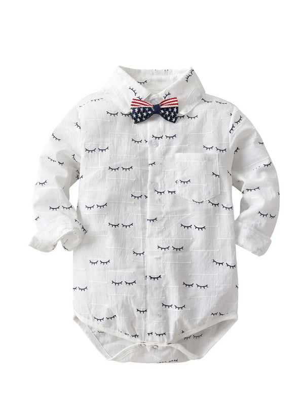Cartoon Eyewinker Baby Toddler Boy Romper Onesie with Bowtie