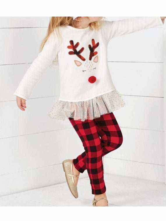 Christmas 2-Piece Set Deer Mesh Patchwork Top & Checked Pants