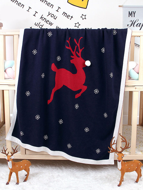 Xmas Cotton Blanket-Deepblue