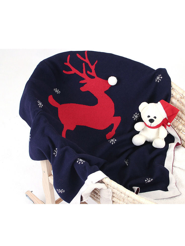 Christmas Deer Baby Knit Blanket