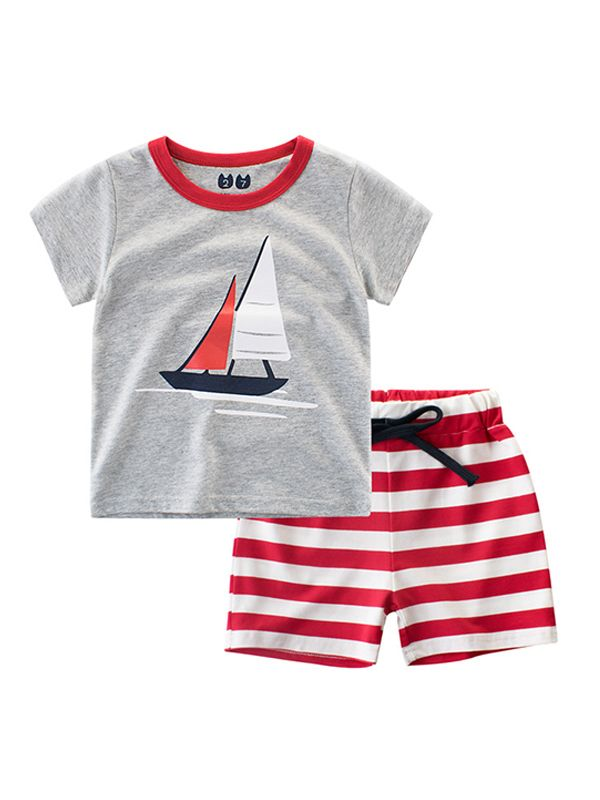 2-piece Print Tee Shorts Set