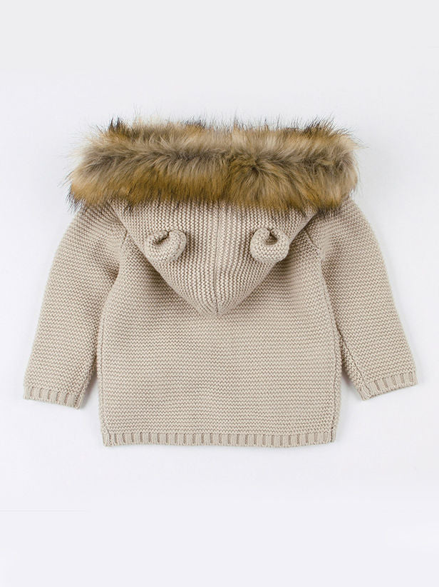 Cute Faux Fur Trimmed Ear Hooded Crochet Coat Winter Outwear