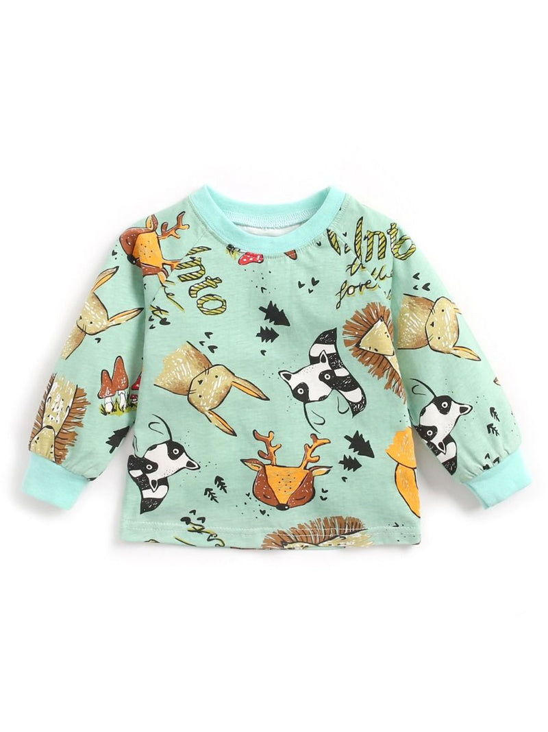 6 Colors Cute Baby Unisex Cartoon Long-sleeve T-shirt