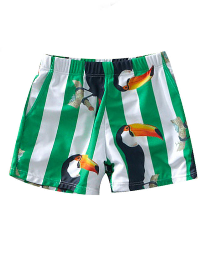 Dad and Son Bird Stripe Swimming Trunks Family Matching