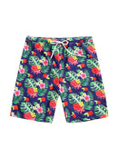 Daddy and Son Flower Leaf Print Swimming Trunks Family Matching