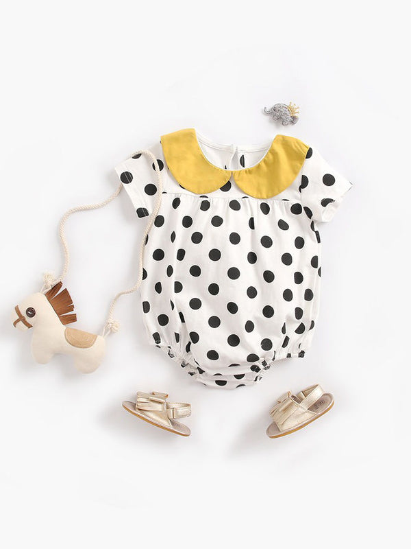 Doll Collar Black Polka Dots Baby Bodysuit