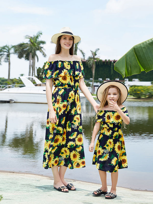 Mommy and Me Off Shoulder Dress