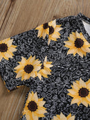 Kids Sunflower Clothing 2-Piece Outfit Dress Top Matching Yellow Ruffle Trousers Summer Wholesale