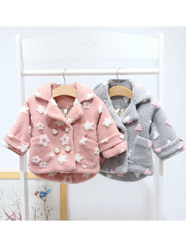 Stylish Pocket Coat-pink/gray