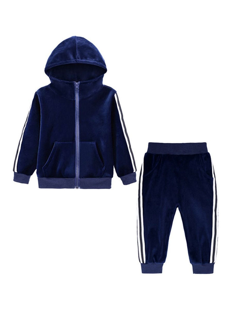 Fall 2-Piece Baby Toddler Boy Pleuche Tracksuit Hooded Jacket & Trousers