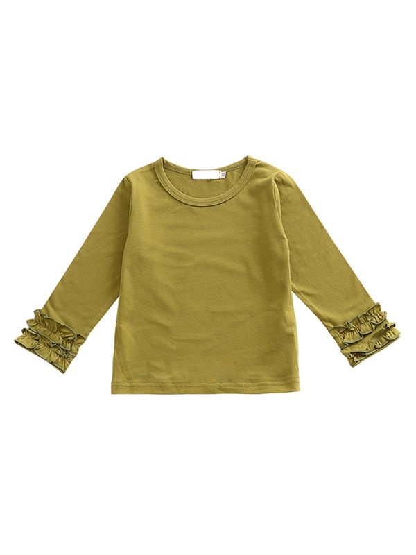 Pleated Sleeve Top-Green