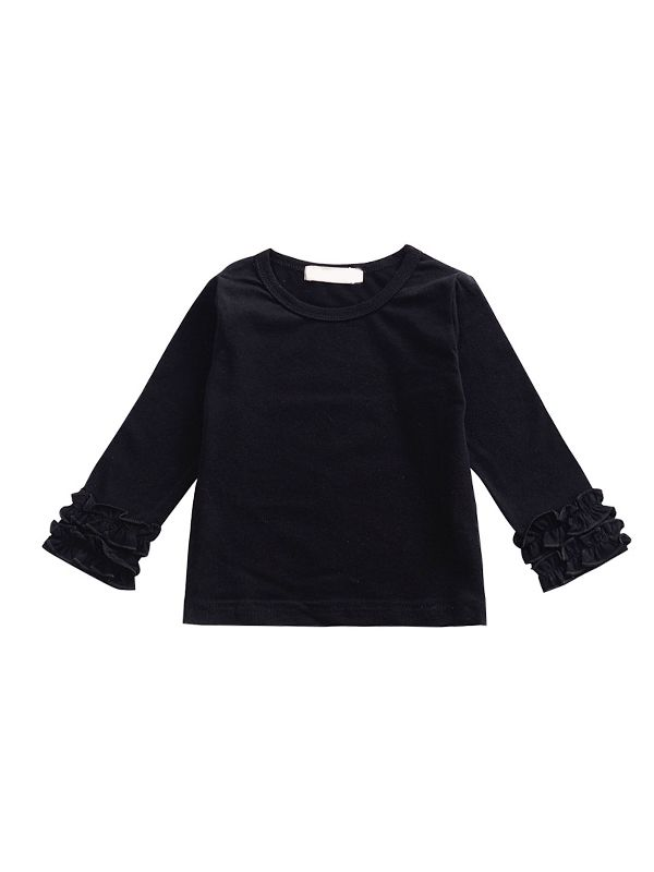 Pleated Sleeve Top-Black