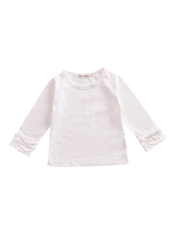 Pleated Sleeve Top-White