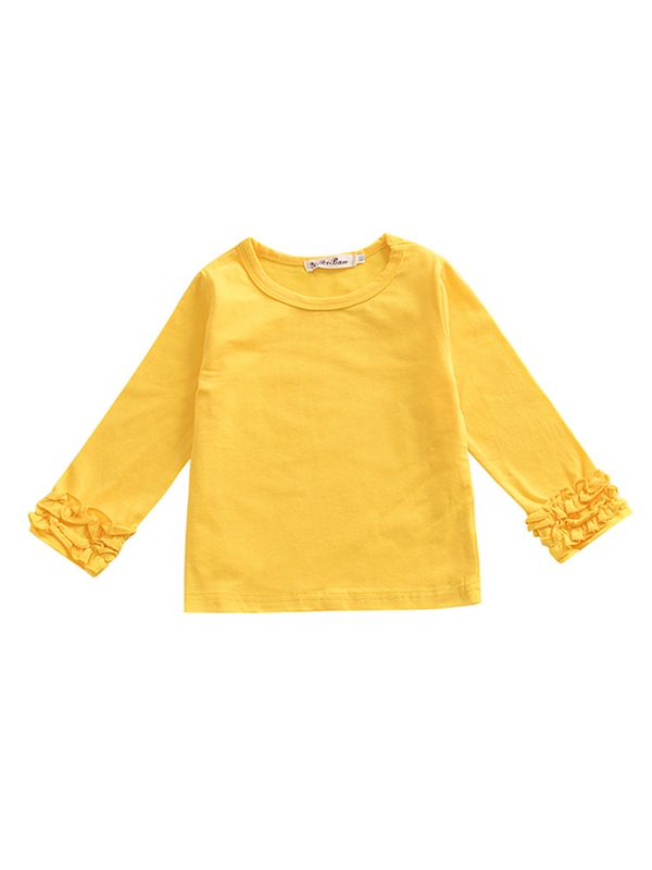 Pleated Sleeve Top-Yellow