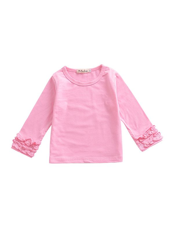 Pleated Sleeve Top-Pink