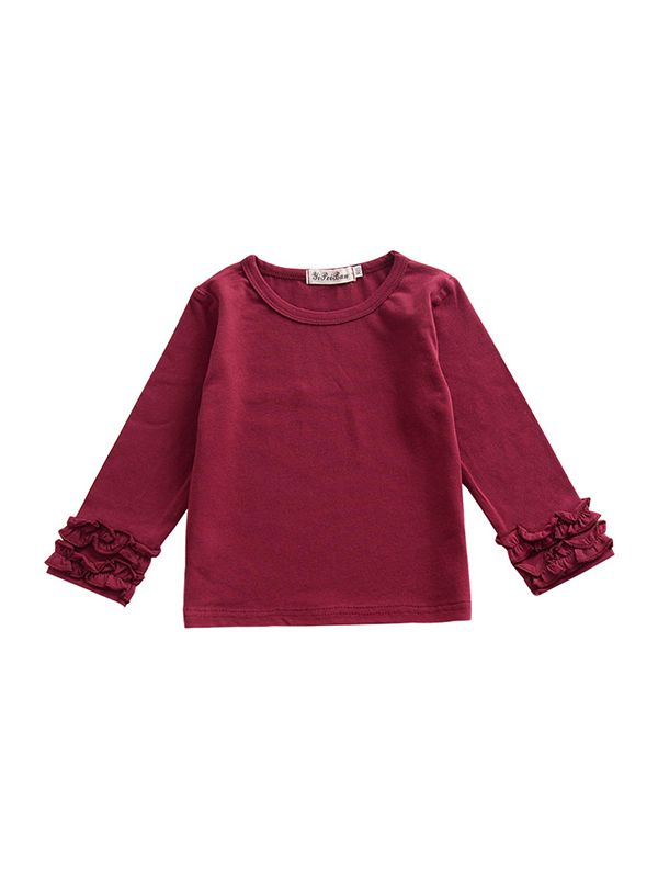 Pleated Sleeve Top-Red
