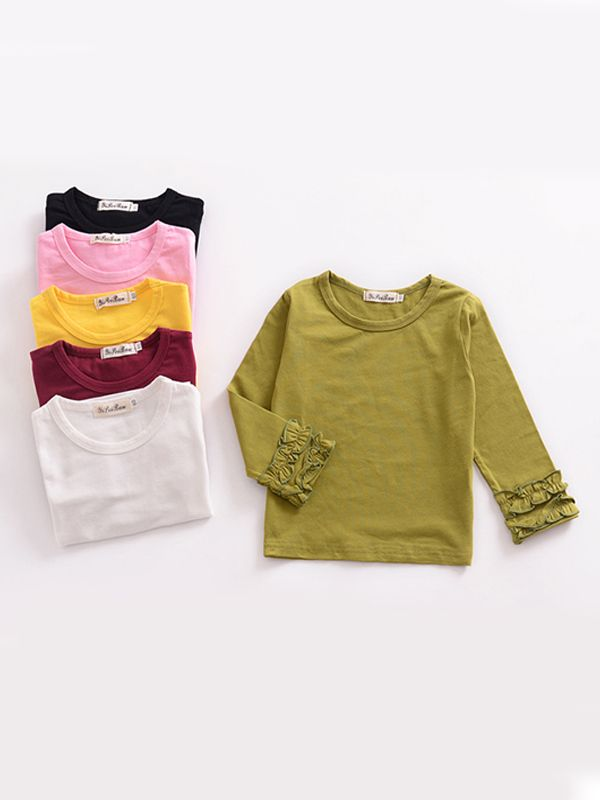 Fall & Autumn Baby Little Girl Round Collar Long Sleeves Cotton Top