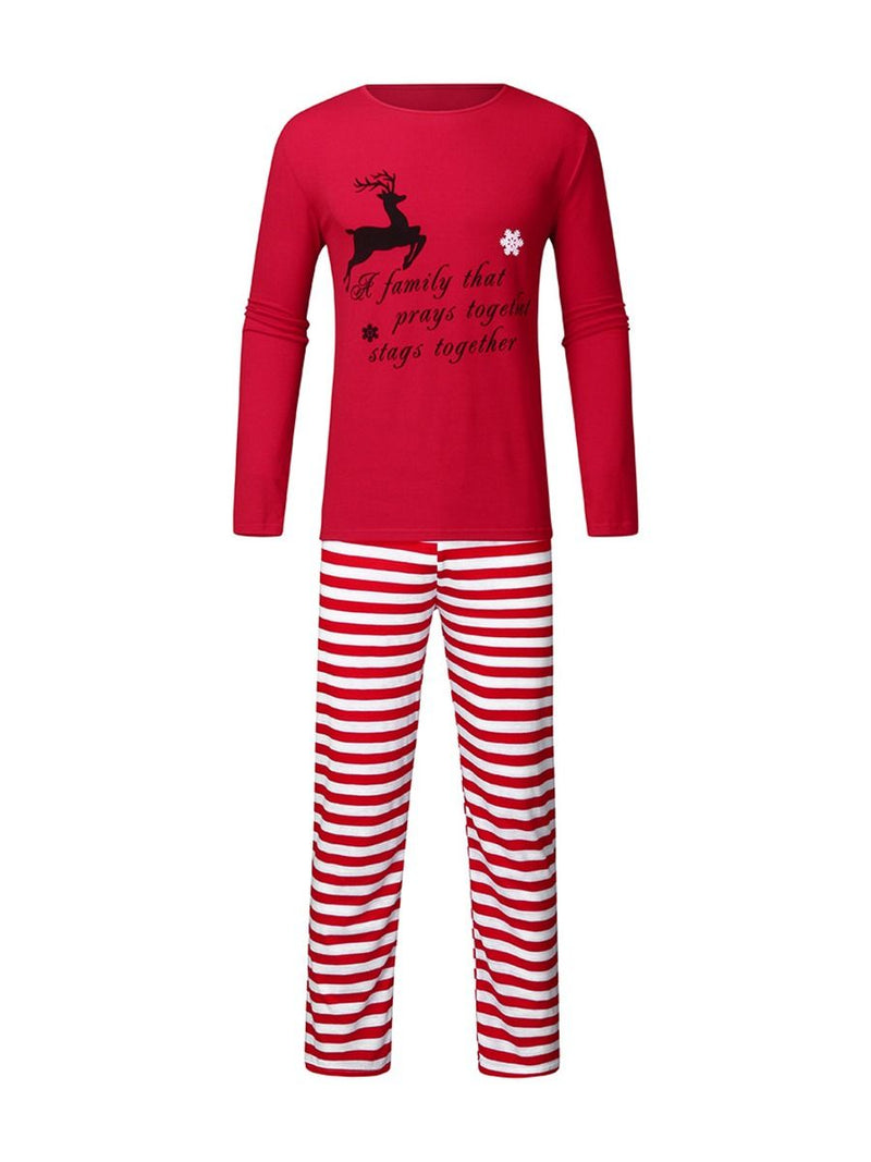 Family Matching 2-Piece Christmas Deer Stripe Loungewear