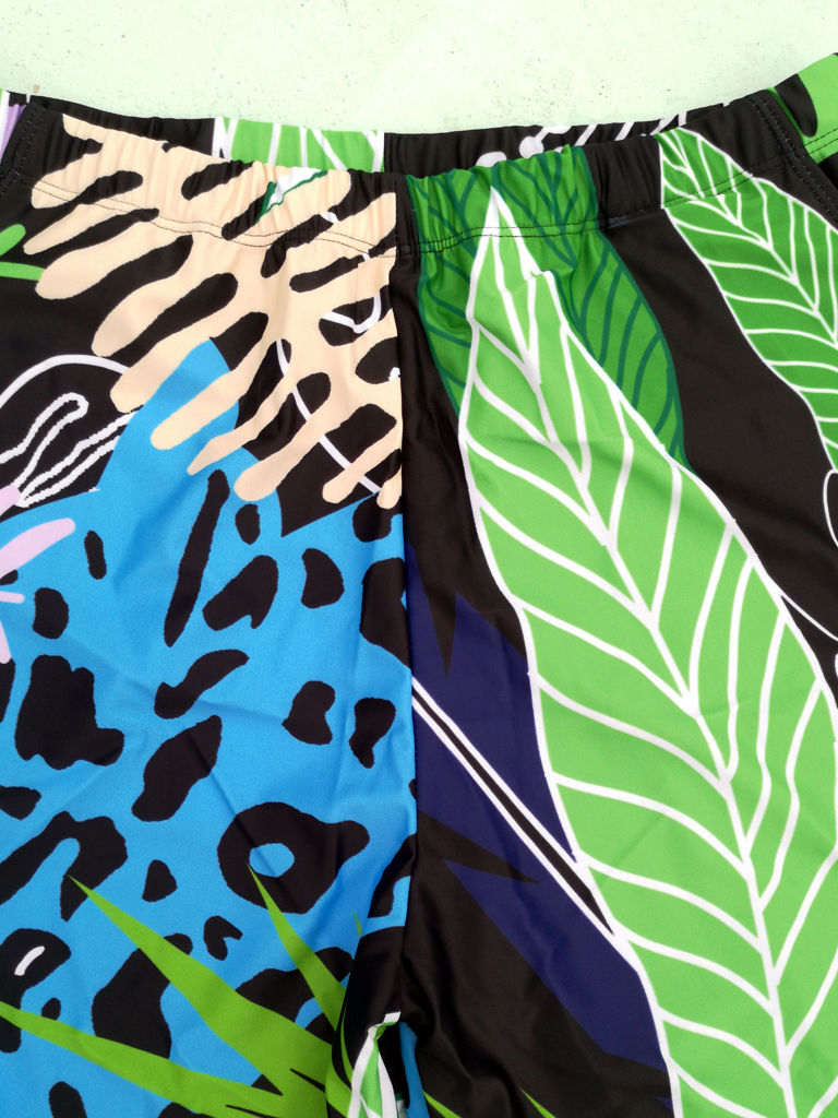 Family Matching Selva Leaf Print Swimming Suit Beach Wear