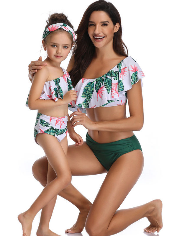 Fashion 2-Piece Mom & Me Leaf Print Tankini Swimwear