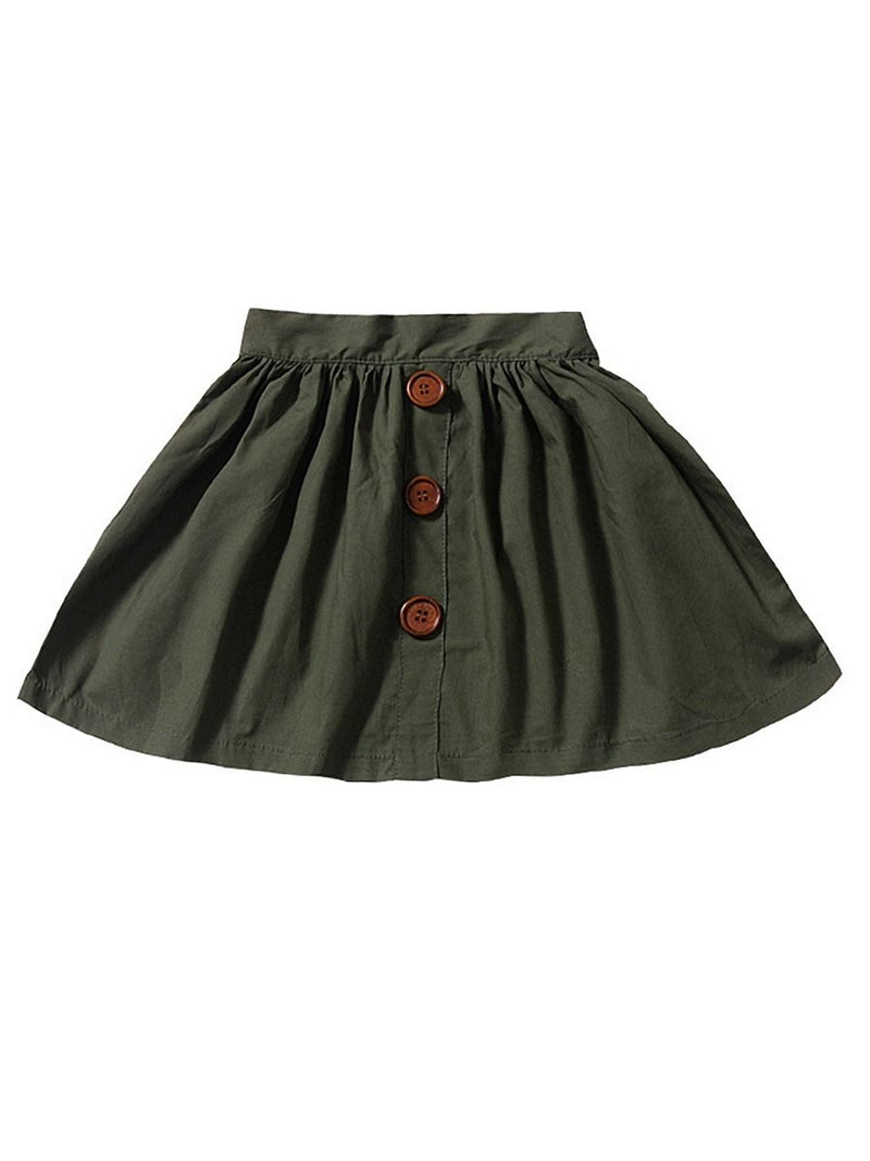 Buttoned Pleated Skirt-Green