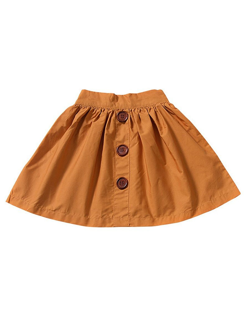 Buttoned Pleated Skirt-Ginger