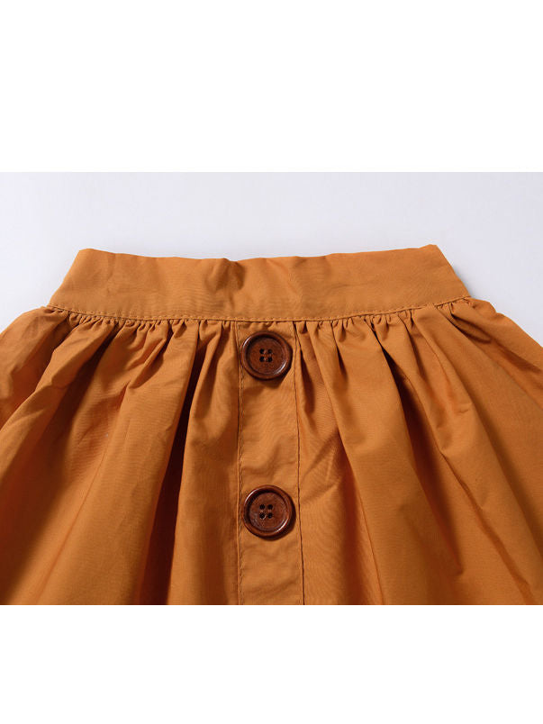 Fashion Baby Girl Buttoned Solid Color A-line Skirt