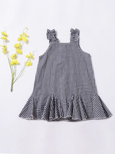 Fashion  Infant Girl Plaid Ruffled Sleeveless Shift Dress