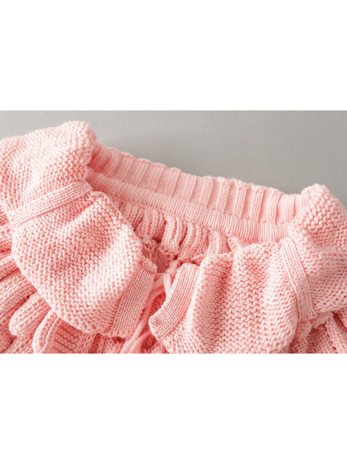 Fashion Toddler Girl Pom-trim Frilled Knitted Cardigan