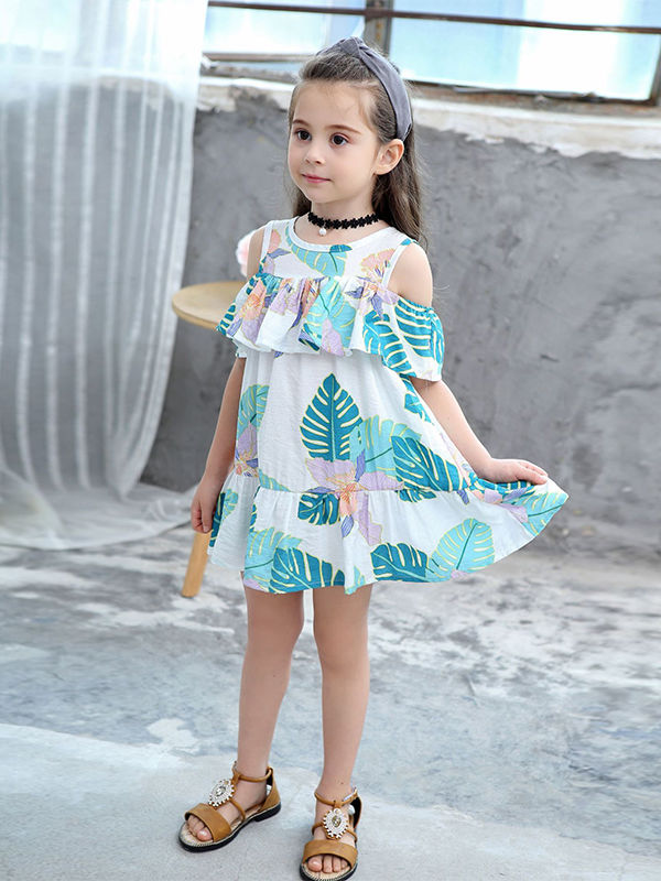 Leaf Pattern Ruffle Dress