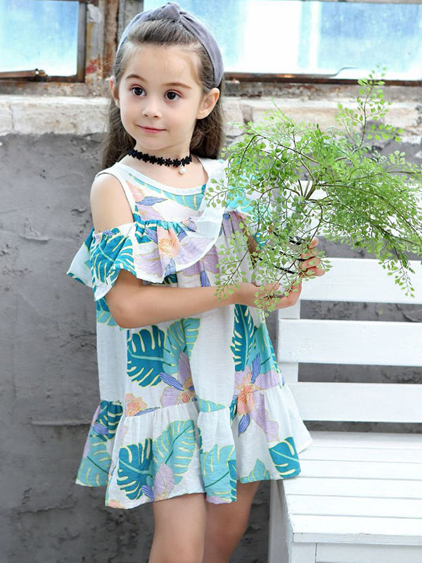 Fashion Toddlers Girls Summer Off Shoulder Print Dress