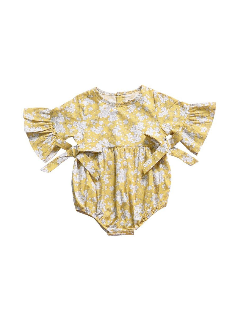 Yellow Bodysuit Bow Onesie
