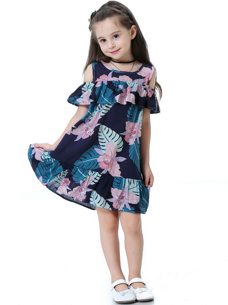 Flounced Flower Print Cotton Little Girls Dress