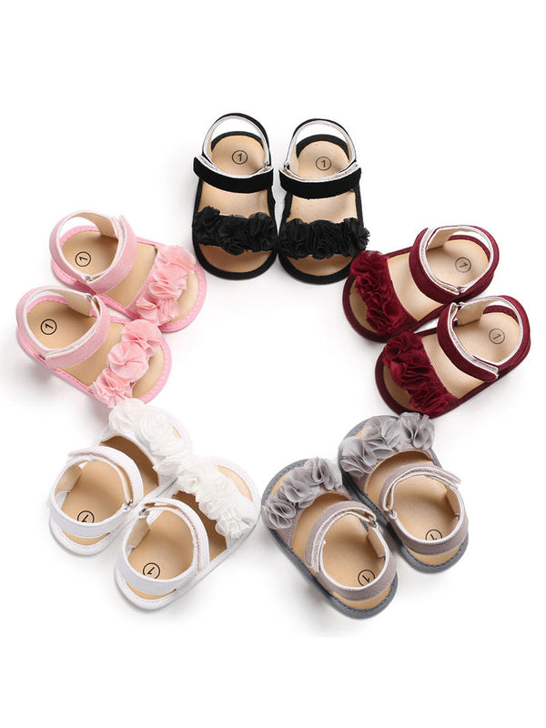 Flower Trim Solid Color Baby Girl Sandal