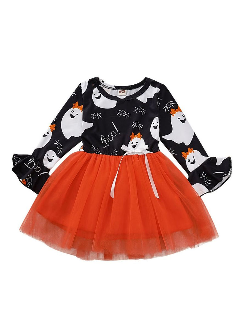 Ghost Print Flare Sleeve Tulle Patchwork Toddler Girl Halloween Dress