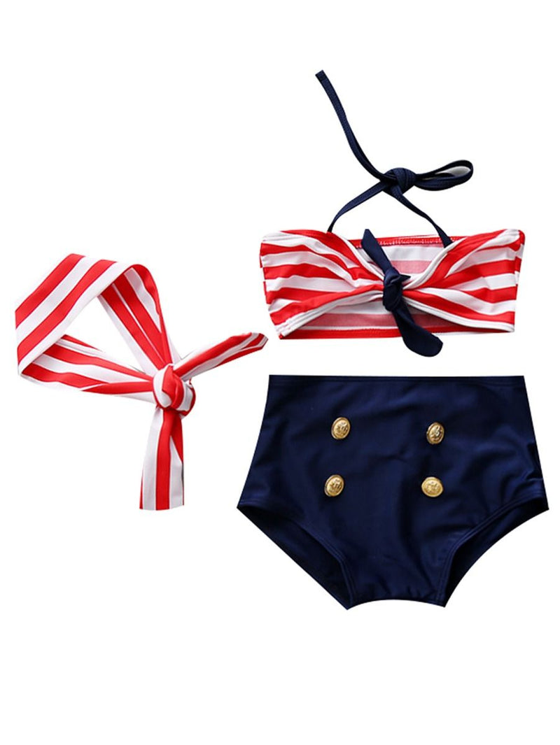 Girl Kids Swimwear 3-Piece Set-red