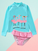 Little Girl Sun Protection Swimwear 2-Piece Set Long-sleeved Top+Frilled Shorts